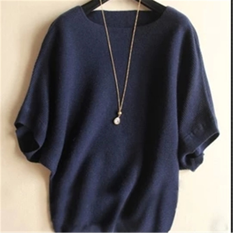 Autumn and winter word wool sweater new lady loose large size bat shirt short sleeve sweater wild sweater woven blanket