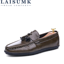 LAISUMK 2019 High Quality Leather Slip On Men Shoes Luxury Brand Loafers Italian Leather Men Shoe Casual Men Flats Shoes цена 2017