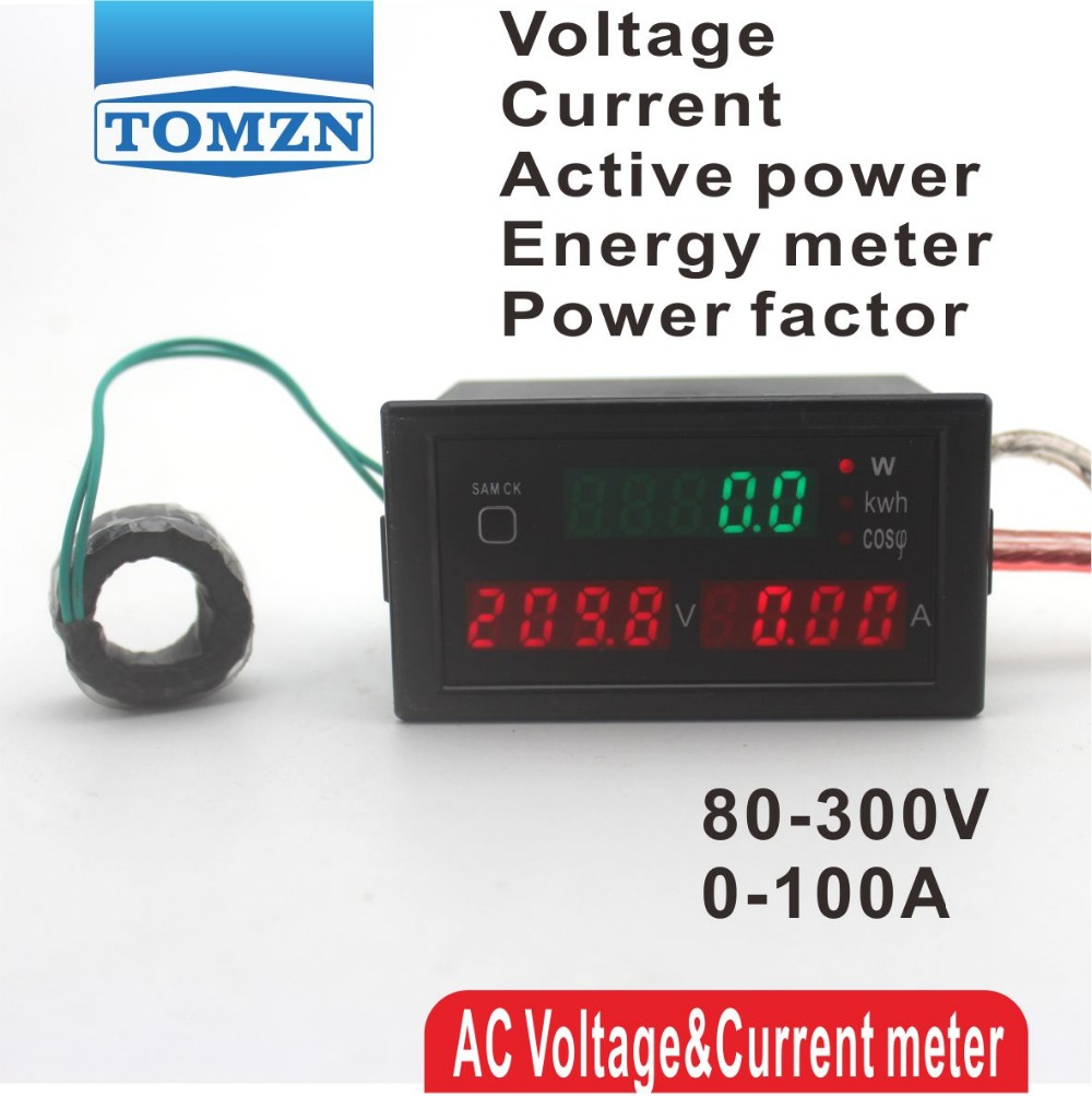 D69 Multi-functional LED display panel meter voltmeter ammeter with active and Electric energy and power factor 80-300V 0-100A