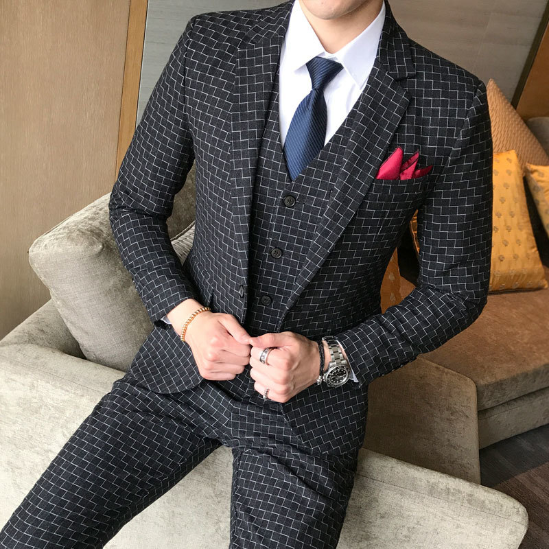 Check Suits For Men 3 Piece Wedding Suit New Costume Homme Marriage Smoking Masculino Vintage Suit Men Terno Slim Fit 5xl