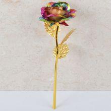 24 K Красочные золотые розы цветок золотой окунутый с коробкой День Святого Валентина свадебные юбилей вечерние Романтические цветы девушки подарки