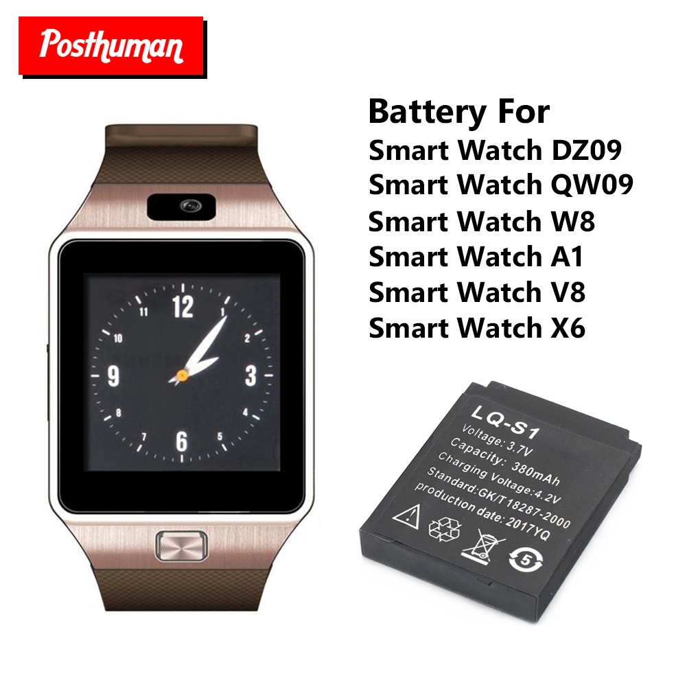POSTHUMAN Smartwatch Backup Battery 380mAh 3.7V For DZ09 Smart Watch Rechargeable Li-ion Polymer Battery Batteria