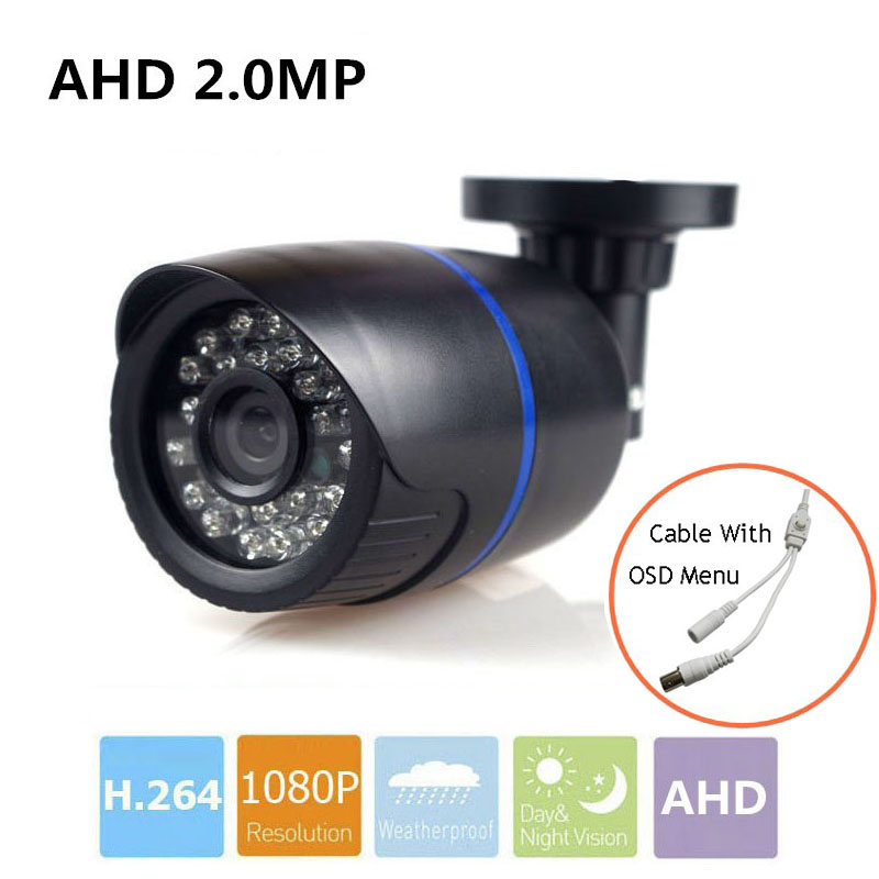 1920*1080 Full HD 2.0MP AHD Camera Waterproof AHD Camera Night Vision Security Home Video Surveillance CCTV Camera With OSD Menu