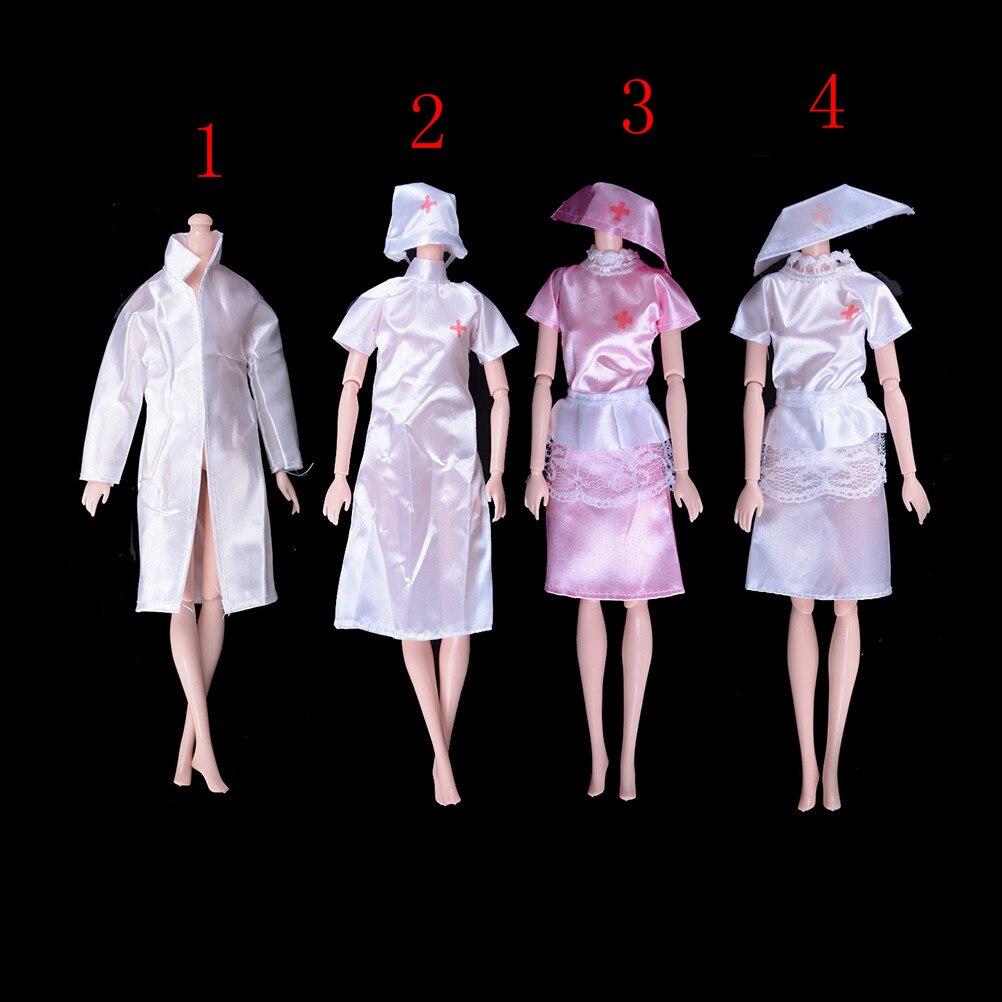 1 conjunto boneca brinquedos moda roupas uniforme anjo branco feminino enfermeira masculino médico vestido para boneca cosplay vestir-se brinquedos