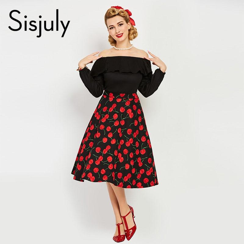 Sisjuly vintage dress 1950s style spring summer black patchwork slash women party dress 2017 new elegant female vintage dresses