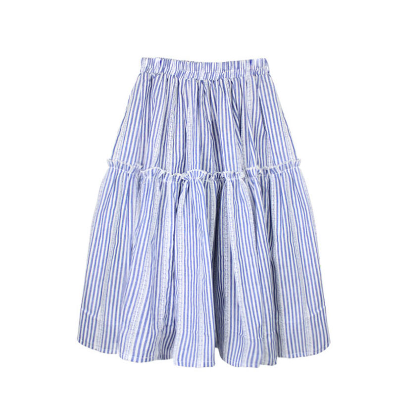 2-12T Kids Summer Clothes 2018 Striped Ruffle Baby Girls Skirt Cotton Long Princess Party Skirts Children Lace Pleated Skirt