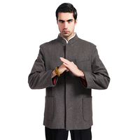 Brown Traditional Chinese Style Men Wool Jacket Coat Autumn Winter Thick Outerwear Hombre Chaqueta M L