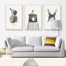 Hot Decorative paintings Nordic Cartoon Bird Bear Deer Canvas Painting Cafe Home Wall Poster(China)