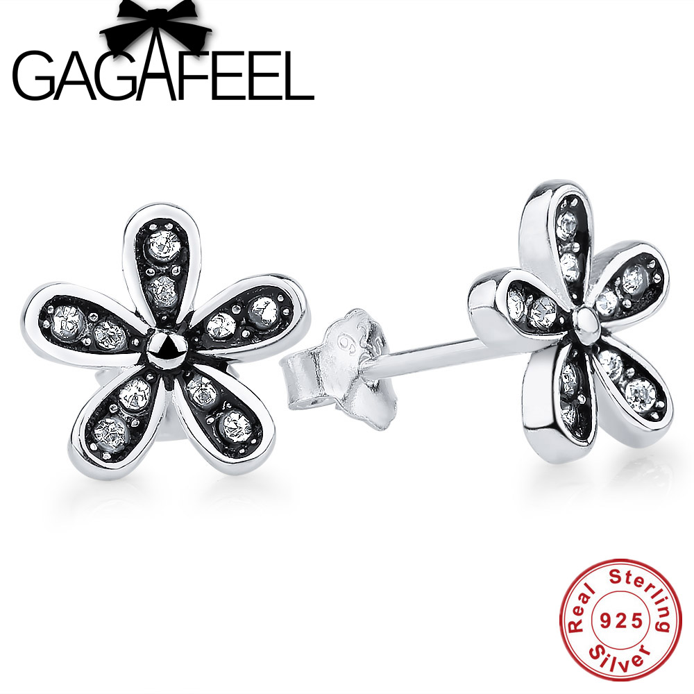 GAGAFEEL New Genuine 925 Sterling Silver Dazzling Daisy Stud Earrings With Clear CZ Crystal Jewelry Special Store ...