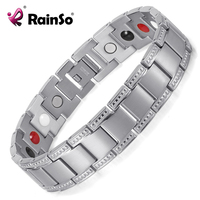 Silver Plated Titanium Bracelet Healing 4 Elements Magnetic Therapy Men Bracelet Chain For Charm Free Shipping