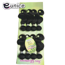 Волнистые пучки волос Eunice 8 шт. 200 г необработанные натуральные черные волосы 8-12 дюймов синтетический шиньон для волос для наращивания