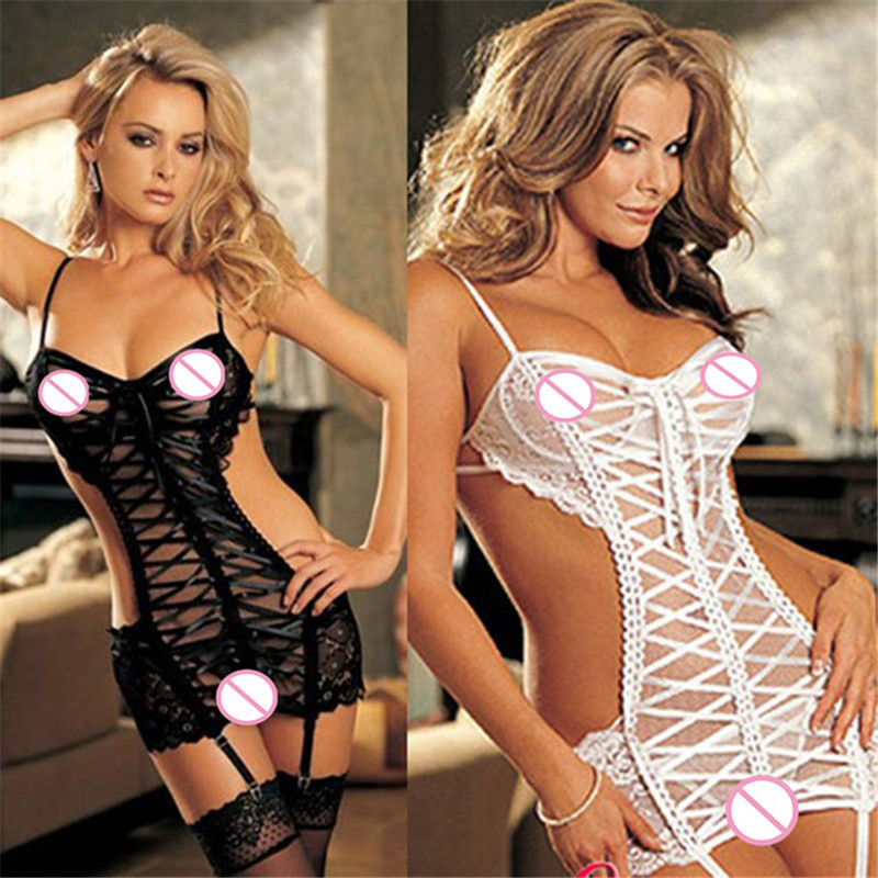 Teddy Sexy Erotic Underwear Women Black/White Lace Transparent Porn Babydoll Erotic Lingerie Sexy Costumes Sexy Sleepwear+Thong