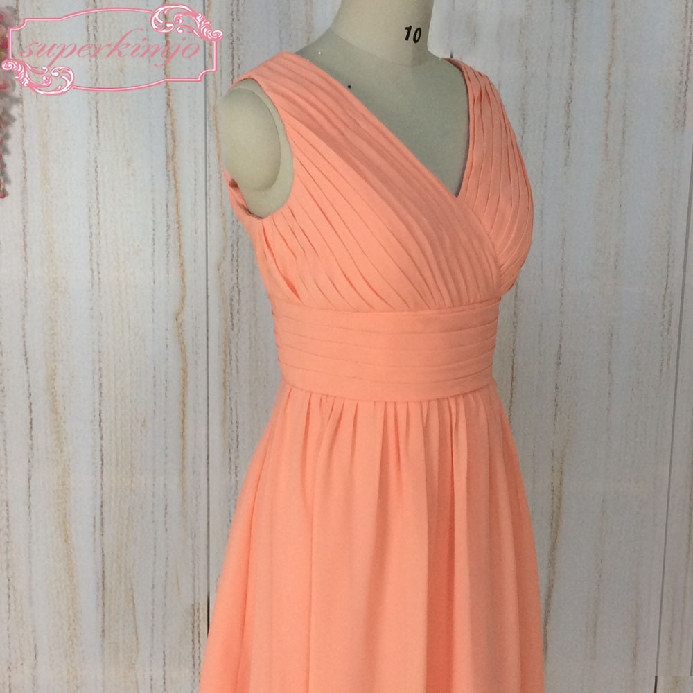 SuperKimJo V Neck Orange Bridesmaid Dresses Short 2018 Chiffon Cheap Junior Wedding Guest Dresses Vestido De Novia De Curto