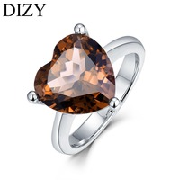 DIZY Heart Shape 6Ct Smoky Quartz Ring 925 Sterling Silver Gemstone Ring for Women Gift Wedding Ring Fine Engagement Jewelry