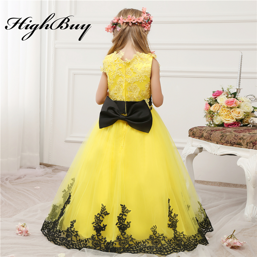 Black dress yellow sash -  Highbuy 2017 Bright Yellow New Arrival Lace Appliques Black Sash Bow Baby Infant Flower Girl Dresses