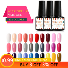 RBAN NAIL Pure Color Gel Nail Polish Colorful Manicure Semi-permanent for 7ml Soak Off UV 1 PC