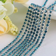 YANRUO 10 Meters Blue Zircon Cup Chain Silver Base Flat Back Strass Glass  Stones Crystal Decoration Trim Applique Bags Shoes 714f1afc6b48