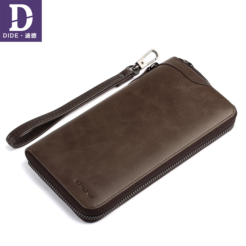 DIDE Men Wallet Genuine-Leather Purse Card-Holder Long Clutch Vintage Fashion-Brand Classic