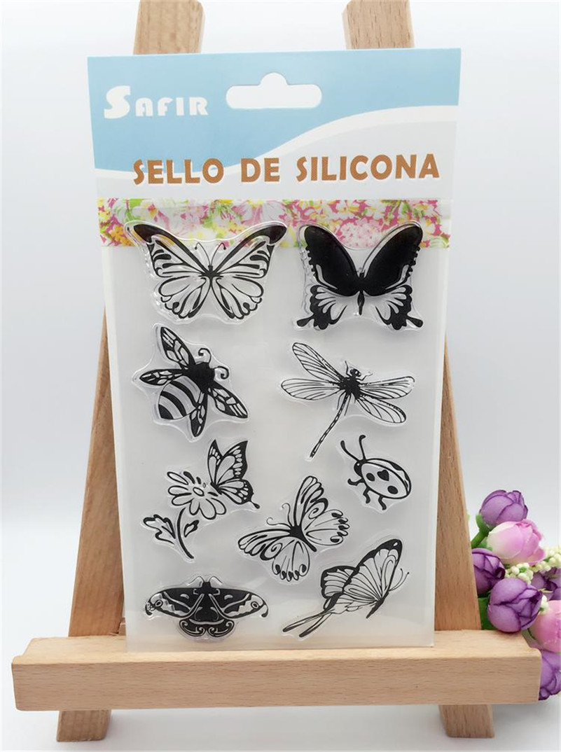 butterfly  design for diy clear stamp scrapbooking photo album transparent stamp for wedding gift christmas craft LL-208 lovely animals and ballon design transparent clear silicone stamp for diy scrapbooking photo album clear stamp cl 278