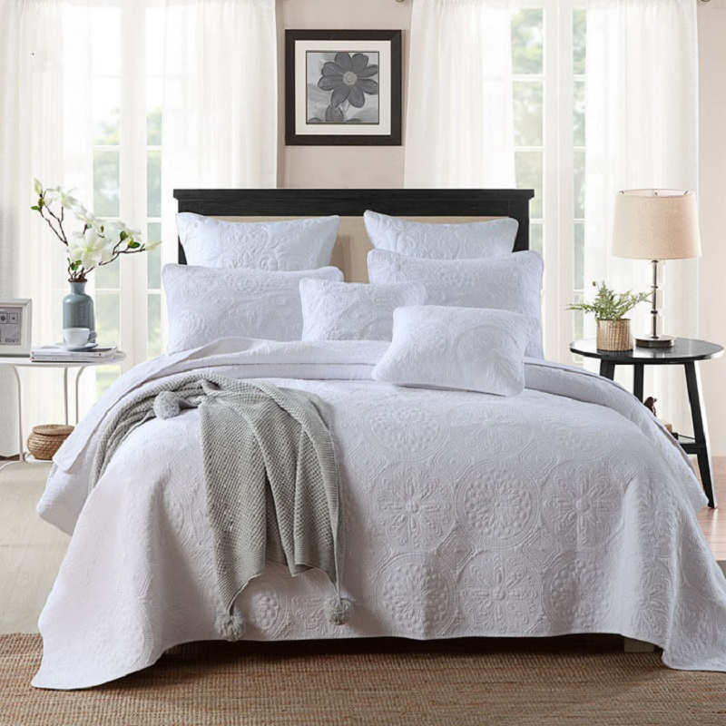 chausub solid white quilt set 3pcs washed cotton quilts embroidered quilted bedspread bed cover sheets king size coverlets