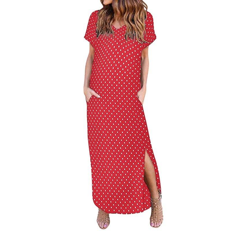 Women 2019 Party Dress Summer Polka Dot Dress Sexy V Neck Short Sleeve Dress Female Sundress Elegant Casual Side Split Vestido in Dresses from Women 39 s Clothing
