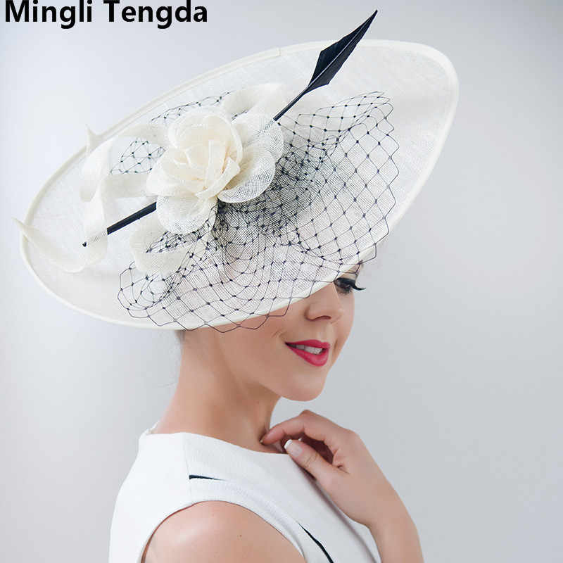 dd82f7c85a027 Mingli Tengda Vintage Elegant Hat Red Bride Wedding with Feathers and  Flowers hats Bride for party