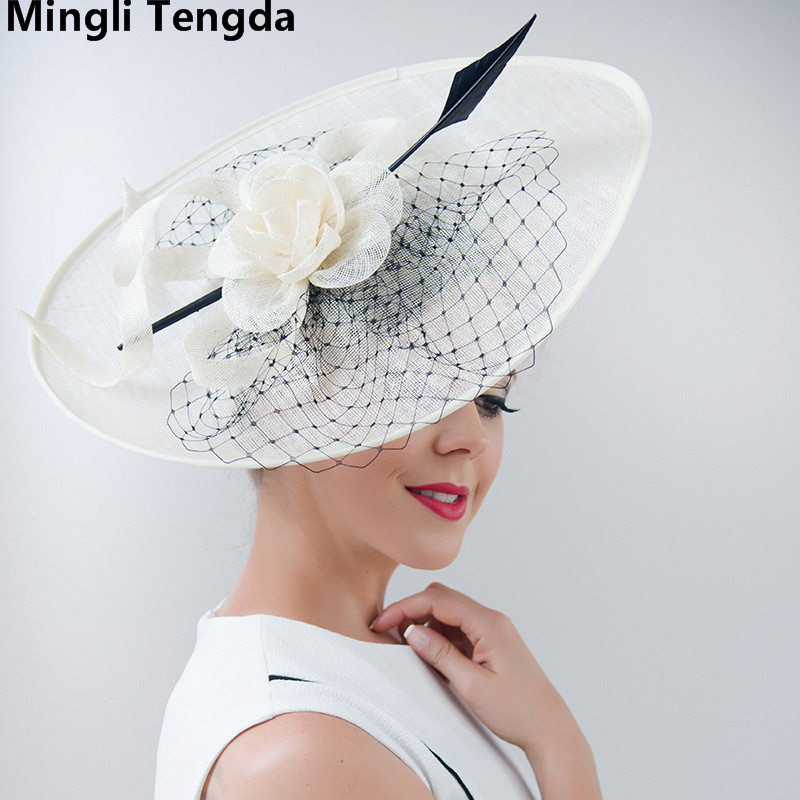 Mingli Tengda Vintage Elegant Hat Red Bride Wedding with Feathers and Flowers hats Bride for party Hats Wedding Accessories 2018