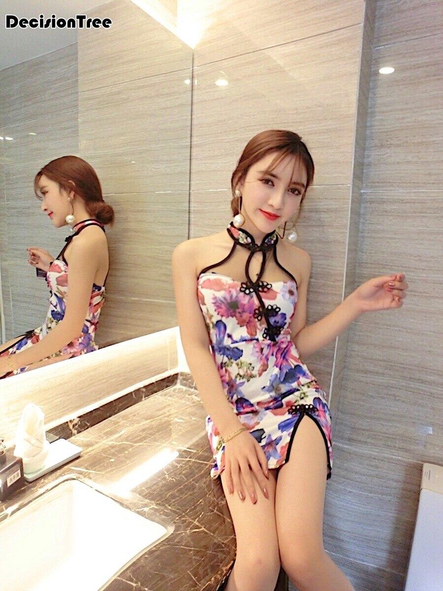 2020 Floral Chinese Lady Cheongsam Qipao Black Print Flower Sexy Long Dress Chinese Dress Vestidos Halter Dress