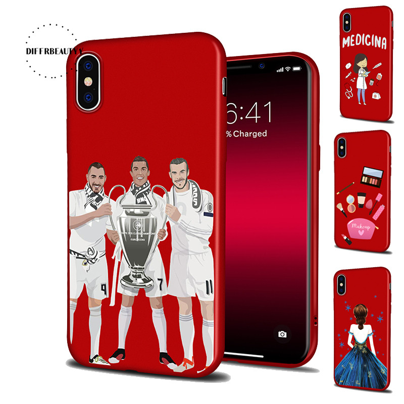 DIFFRBEAUTY Occupation Nurse Athlete Cosmetic Back Dress Girl Phone Case Coque For iPhoneX 8 6 7 6Plus 5SE Red Thin Silicone TPU