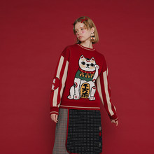2018 Spring New Chinese Style Thickened Red Pullover Sweater Lucky Cat Cotton Knitwear Top Casual High Quality Warm Winter(China)