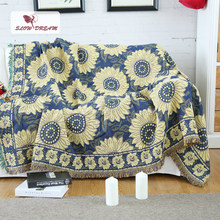 SLOWDREAM Knitted Blanket Throw Sunflower Autumn Winter Plain Warm Thicken Blanket Child Adult Bedspread Sofa Bed Covers Quilts(China)