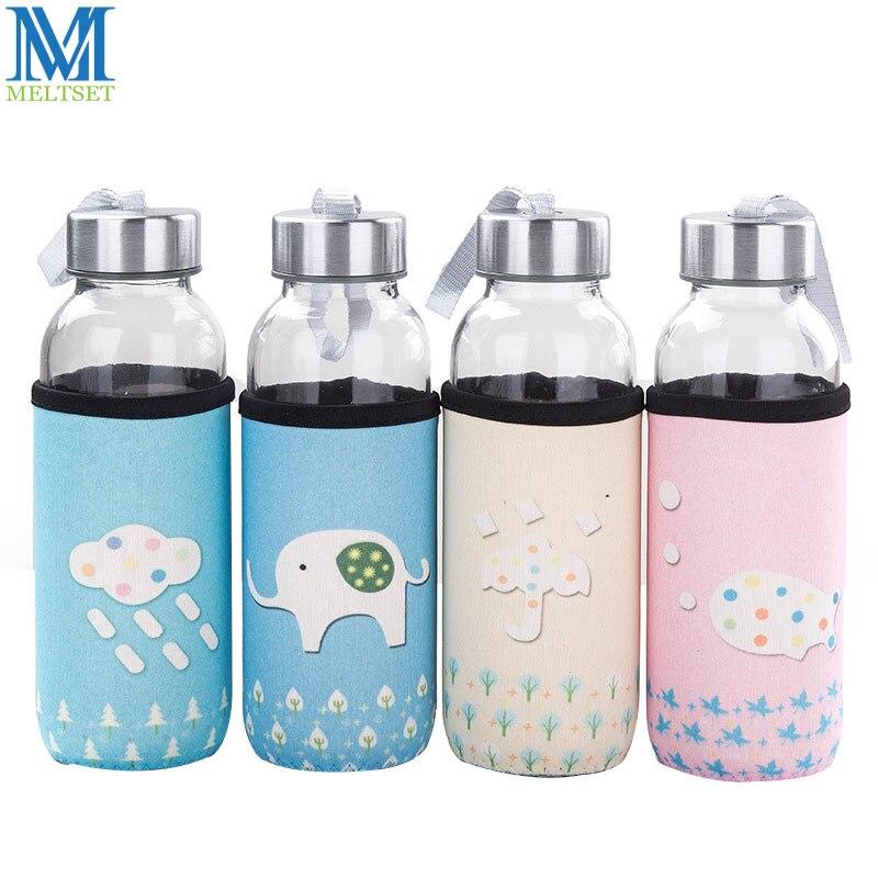 Meltset 1PC Glass Water Bottle With Bag 300ML Drinking Bottles Portable Drinkware
