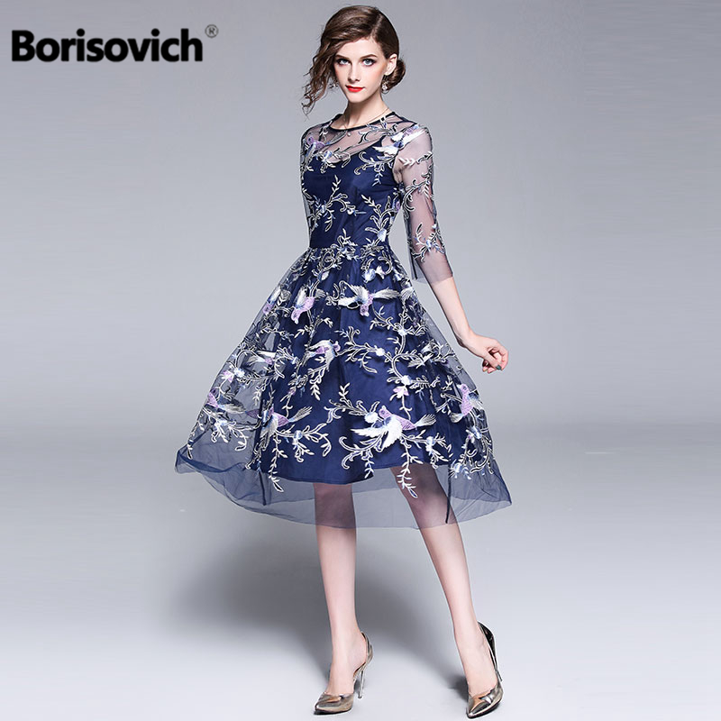 Borisovich High Quality Embroidery Women Summer Dress New Arrival 2018 Fashion Elegant Slim Ladies Evening Party Dresses M470