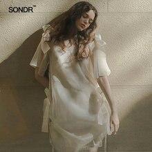 Женское платье с бантом sondr белое асимметричное праздничное