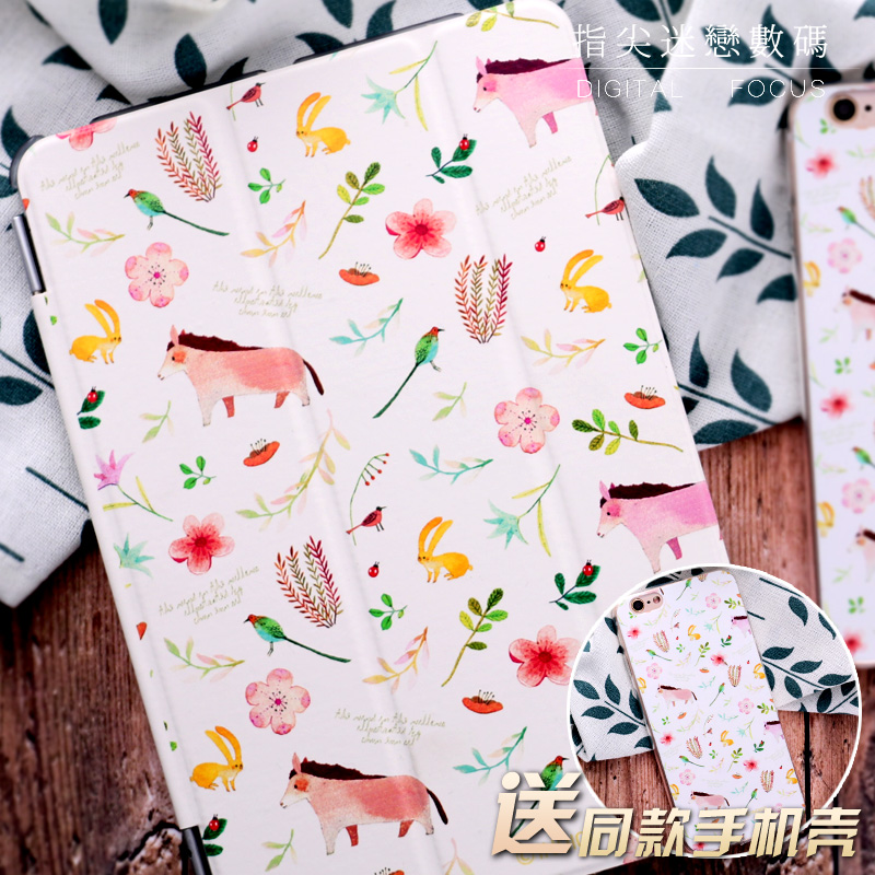 For New iPad 9.7 2017 Magnet Grass horse Flip Cover For iPad Pro 9.7 10.5 Air Air2 Mini 1 2 3 4 Tablet Case Protective Shell
