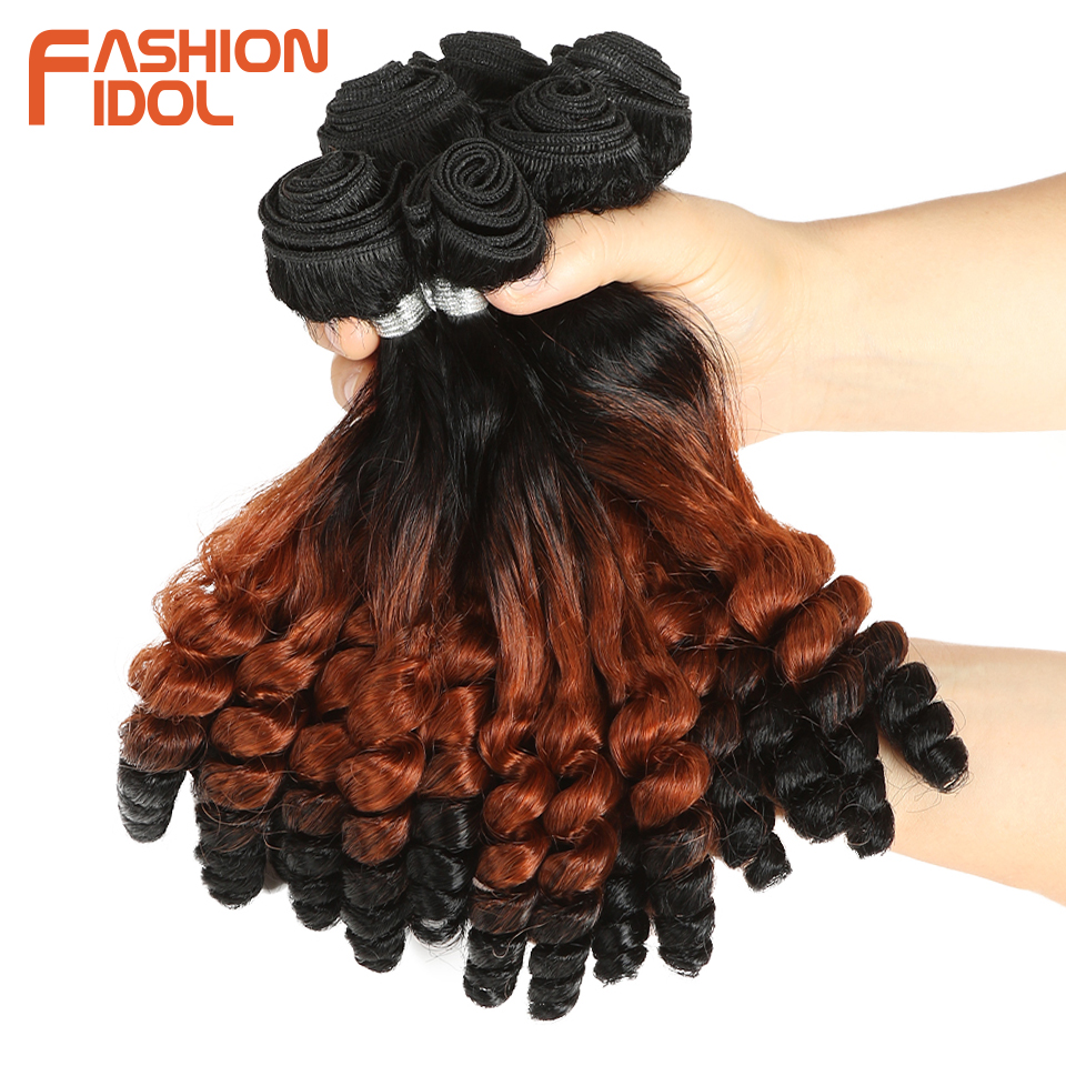Image 2 - FASHION IDOL Afro Kinky Curly Hair Bundles 14inch 7Pieces/lot Upper Straight Lower Bend Synthetic Hair Lace Front With Closure-in Synthetic Weave from Hair Extensions & Wigs
