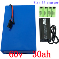 ebike lithium battery 60v 30ah lithium ion bicycle 60v 3000w electric scooter battery for kit electric bike For Panasonic cell