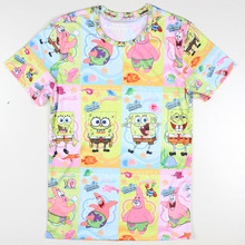 Funny Novelty cartoon men t shirts 3d printing SpongeBob and Patrick Star tshirt round neck Short Sleeve tee shirt homme