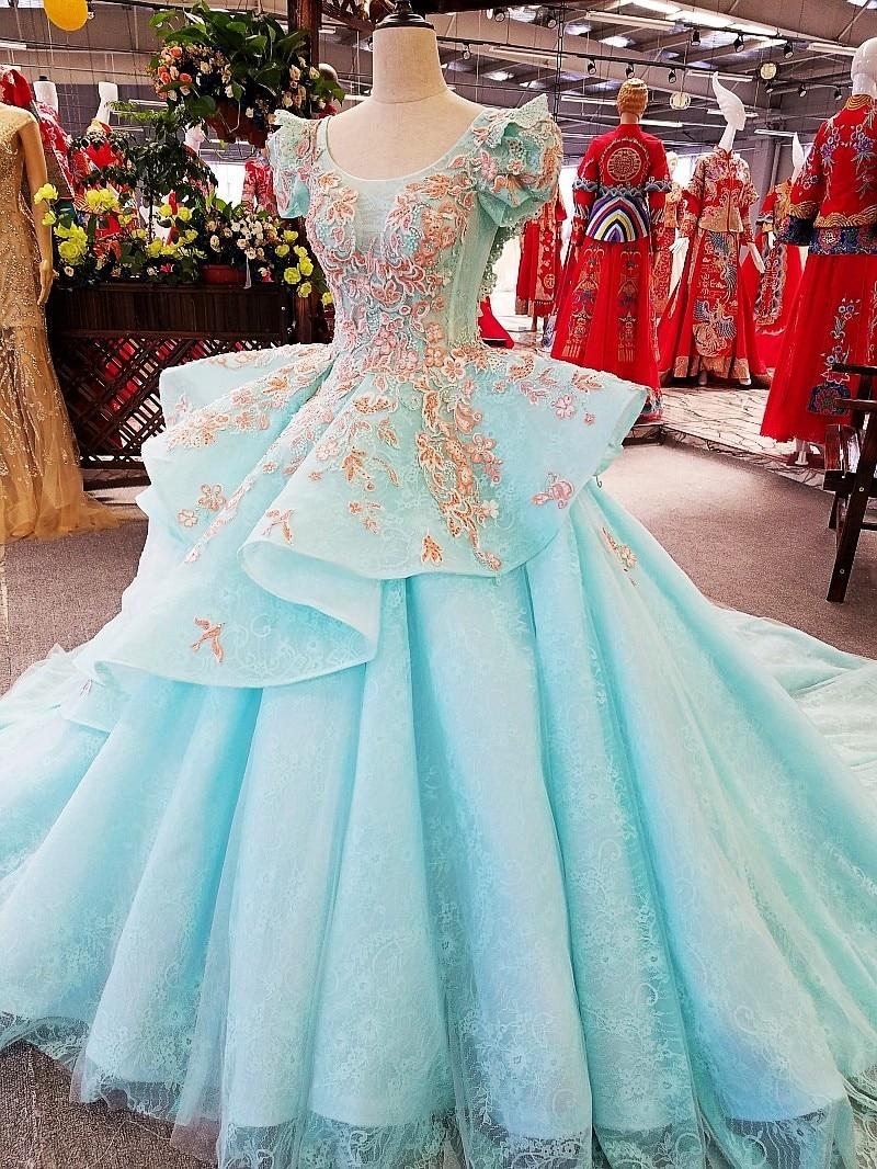 Princess evening dress 2018 with puffy sleeves ball gown vestidos de ...