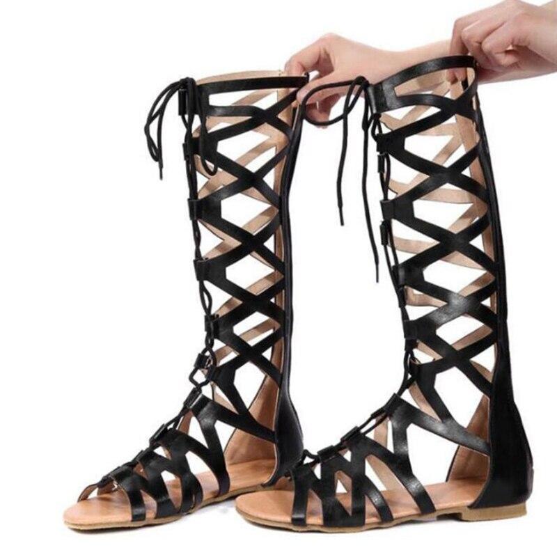 e79493e4c0c Detail Feedback Questions about 2018 Roman Gladiator Bandage Sandals Women  Knee High Flat Sandalias Botas Femininas Women Shoes Girls Summer Hollow  Knee ...