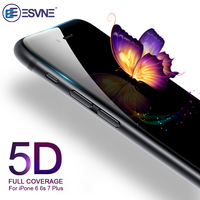 ESVNE 5D vidrio templado para iphone 7 vidrio 6s 8 plus X XS 11 pro MAX XR Protector de pantalla para iPhone 6 vidrio cubierta completa película borde curvo