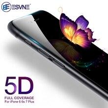 Esvne 5d 강화 유리 아이폰 7 유리 6s 8 plus X XS 11 pro MAX XR 플러스 스크린 프로텍터 아이폰 6 유리 전체 커버 필름 곡선 가장자리