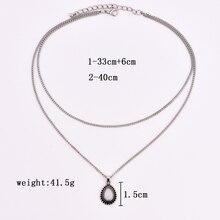 New vintage silver drop stone pendant necklace