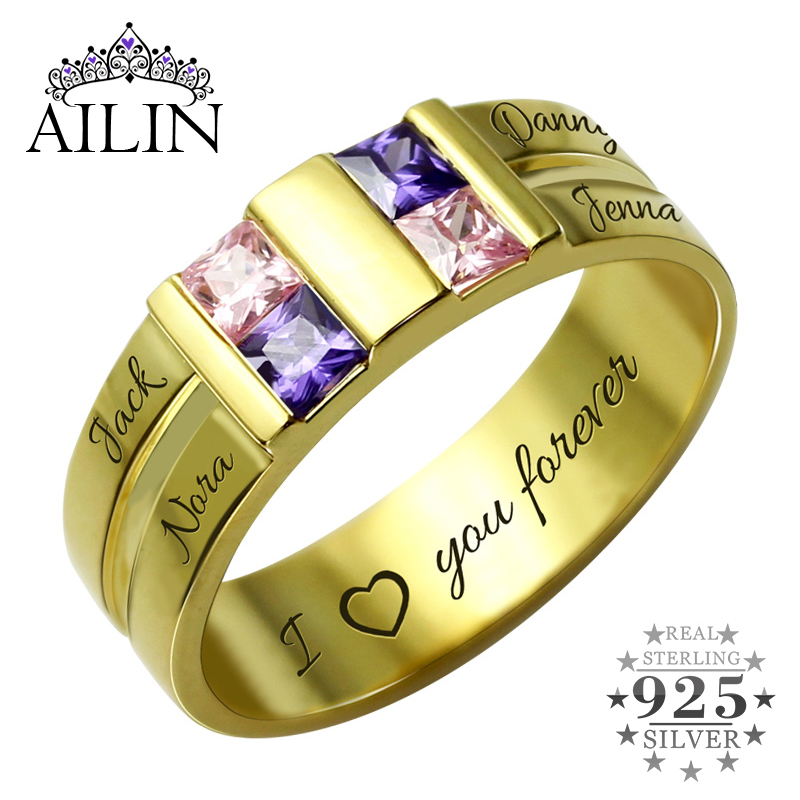AILIN Customized Men's Birthstone Ring Gold Color Four Stone Grooved Men's Ring Family Ring for Father ailin engraved family tree birthstone ring cage ring family ring for mom eternity ring rose gold color