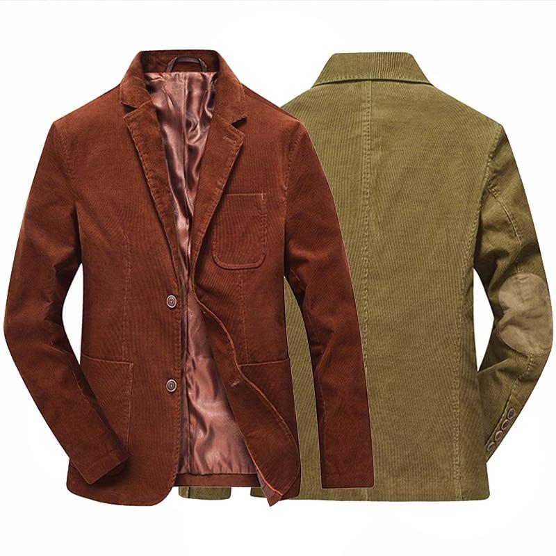 Fashion Brand Male Winter Business Suit Jacket Coat Retro Style Slim Fit Men Corduroy Blazer Casual Elbow Design Gold Brown