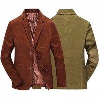 Moda marca hombre invierno traje Chaqueta estilo retro slim fit hombres chaqueta de pana ocasional codo diseño marrón de oro