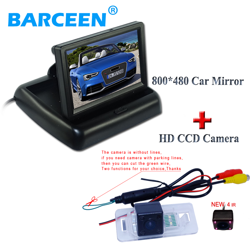 High resolution foldable hd lcd car monitor +plastic shell wire car rear reversing camera apply for BMW 3 Series/5 Series shell series