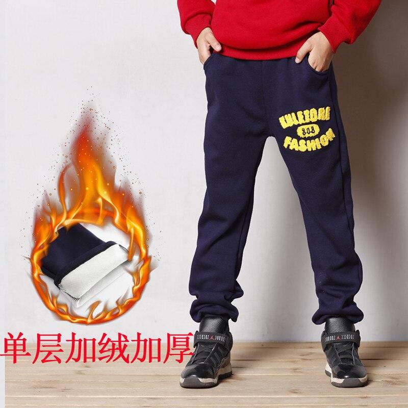 100 155cm Fashion cotton winter warm Boy pants boys warm plus fleece boy trousers children Sweatpants
