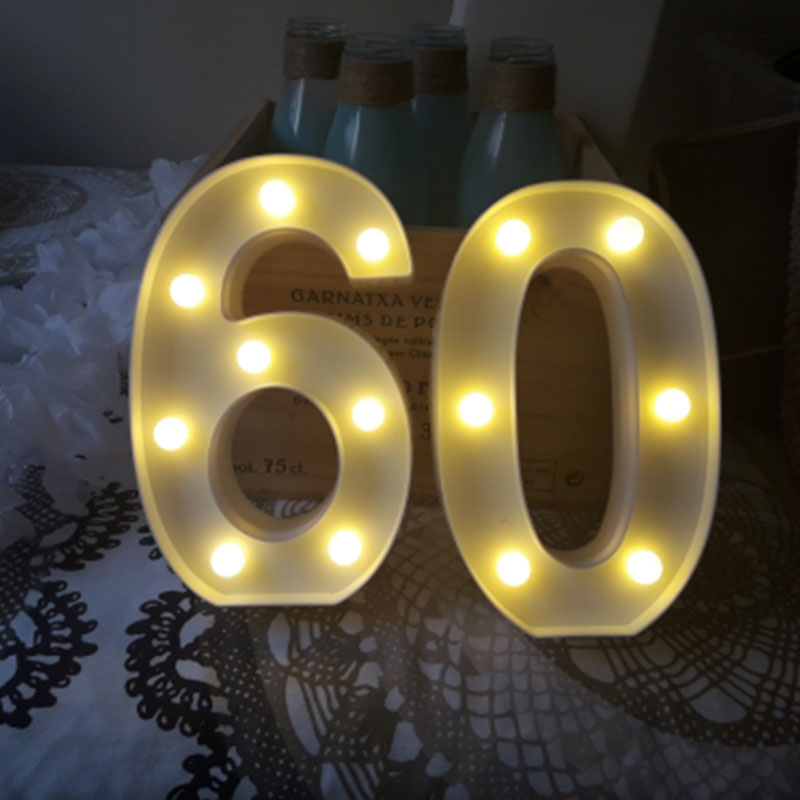 Image 3 - Chicinlife 2Pcs 18/30/40 Numbers LED String Night Light Birthday Party Standing Hanging Adult Party Anniversary Decor SuppliesParty DIY Decorations   -