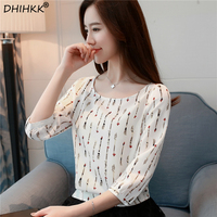 DHIHKK 2018 Spring New Arrivals Women Blouses Shirts Three Quarter Print White Chiffon Blouse Tops Blusa